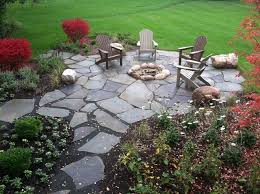 Flagstone Firepit Backyard Flagstone Pit Patio