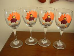 wine glass painting handpainted thanksgiving turkey wine glasses set of 4