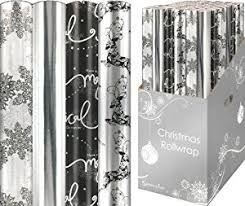 4 x wrapping paper rolls reindeer white silver