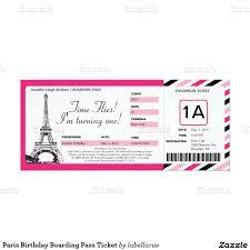 Personalized Invitation Card For Birthday Paris Birthday Boarding Pass Ticket 4x9 25 Paper Invitation Card