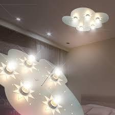eclairage chambre enfant nuage luminaire de plafond led enfant argent le ciel étoilé