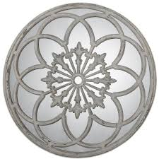 distressed round decorative mirror scenario home