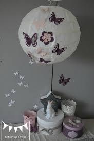 luminaire chambre bébé fille luminaire suspension abat jour papillons fleurs violet parme