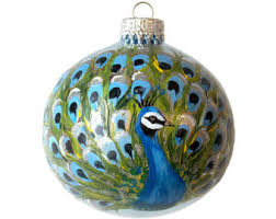 painted ornament glass peacock bird painted