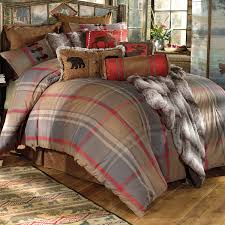 rustic bedding queen size mountain trail plaid moose u0026 bear bed