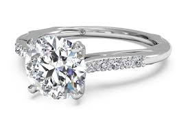 band engagement ring cut solitaire modern set band engagement ring
