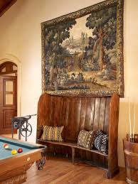 Game Room Wall Decor by Game Room With Wooden Bench And Tapestry Wall Decor Elegant And