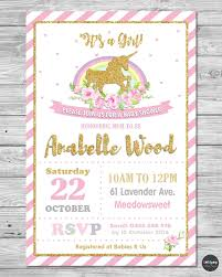 Invitation Card For Baby Unicorn Baby Shower Personalised Invitation Invite Card Pink Gold