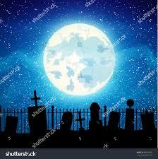 graveyard cemetery tomb full moon halloween stock vector 480106381