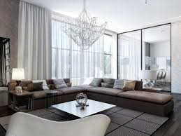 Pretty Chandeliers decorating l shaped couch for modish dynamic design living room