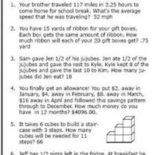 6th grade math word problems worksheets also money word problem