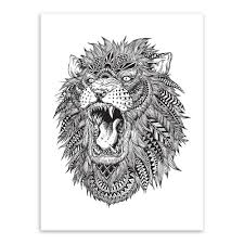 white tiger home decor modern abstract black white animal head lion tiger art print