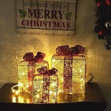 pre lit christmas gift boxes led lighted christmas gift box gold set of 3 6 8 10