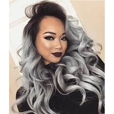 black grey hair black ombre grey hair synthetic grey lace front wig wavy haircuts