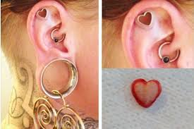heart cartilage cartilage and dermal punch piercing