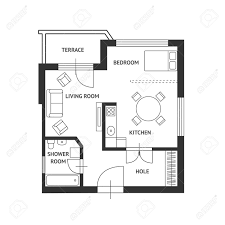 vector illustration architect plan of building with a furniture