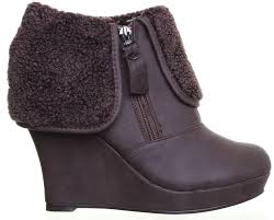 womens xti boots womens 25587 xti warm lined zip up wedge heel platform ankle