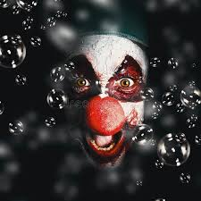 happy birthday creepy clown scary scary horror circus clown laughing with evil smile stock image