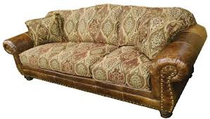 Leather And Upholstered Sofa Leather Sofa With Fabric Seat Cushions Home Design Ideas And