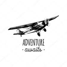 adventure logo with old airplane u2014 stock vector vladayoung