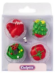 Edible Christmas Baking Decorations by Culpitt 12 Edible Christmas Sugar Pipings Cake Decorations