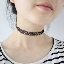 tattoo choker necklace aliexpress images Fashion women double layer colorful beads braided adjustable jpg