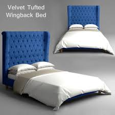 velvet tufted wingback bed 3d cgtrader