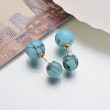new design sided earrings women two faux balls