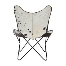 leather butterfly chair lx black u0026 white cow hide leather butterfly chair with iron frame