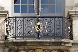 stylish black painted wrought iron balcony railing design using