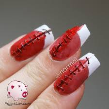 halloween bloody nail art bloody stitches nail art for halloween