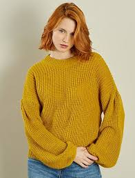 chunky fisherman u0027s rib knit sweater with balloon sleeves women