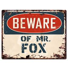 pp2386 beware of mr fox plate chic sign home store wall decor