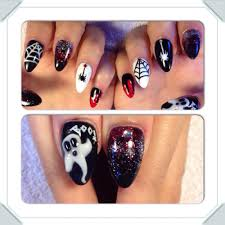 halloween nail art on hard gel stilettos kyle sim