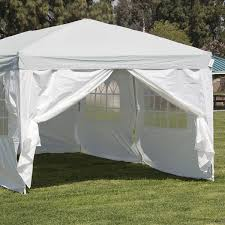 decor 10x20 pop up canopy in silver and white for outdoor patio