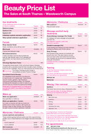 hairstyle price list hair and beauty salons