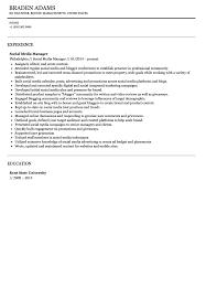 social media resume social media manager resume sle velvet