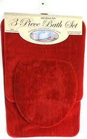 amazon com 3 piece bath rug set brick red bathroom mat contour