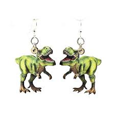 t rex earrings color t rex print wooden earrings sunburst reflections