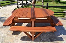 How To Make Picnic Bench Wooden Picnic Table Attached Bench How To Build Round Wood Table