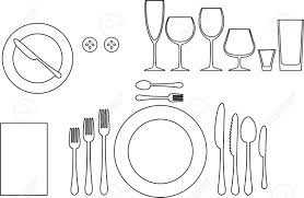 outline silhouette of tableware etiquette proper table setting