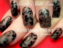 sheer matte black lace nails with flowers diy nail art design