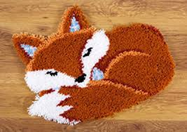 sleeping fox latch hook kit 55x46cm latch hook kits