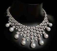 pearl necklace with diamond images Pearl diamond bib necklace by arzano jewellery jpg