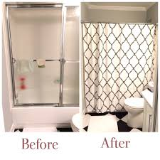 Shower Door Stickers by Ruffled Curtain Over Glass Shower Door Shower Doors Doors And Glass