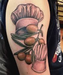 chef hats with fruits tattoo on half sleeve