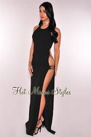 black cut out dress black cut out gold buckle slit maxi dress