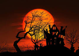 free picture silhouette sunset halloween moon photomontage