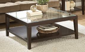 luxurious glass top square coffee table with wooden pedestal