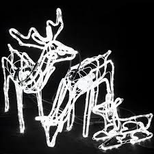 Christmas Rope Light Motifs by 3d Deer Family Set Of 3 Animated Led White Colour Christmas Motif